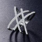 Кольца формы двойного письма x Zirconia микро- вымощенные для женщин