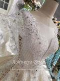 Aoliweiyaの花嫁の刺繍されたサテンの長いトレインの婚礼衣裳
