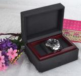 Klassischer schwarzer lederner Uhr-Sarg-Kasten