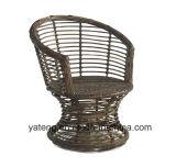 Da mobília de vime confortável do hotel do PE-Rattan da qualidade superior cadeira Rotatable com a mesa de centro ajustada (YT832)