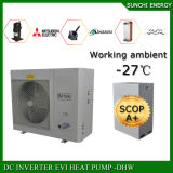 Extramely冷たい-25cの冬の床暖房80~120sqのメートルHouse+55cの熱湯R407c/12kw/220Vの空気ソース小さいEviのヒートポンプ5つのKw