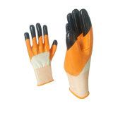 Le double neuf de doigt de modèle a plongé les gants fonctionnants de nitriles lisses