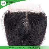 El cabello humano sin enredos no mezclar 4*4 Cierre de encaje suizo