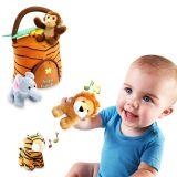 견면 벨벳 아이를 위한 운반대를 가진 말하는 정글 동물 아기 장난감 (5 PCS - 실행 소리)
