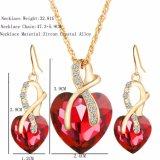 Joyería cristalina del corazón del amor del color del oro fijada para las mujeres