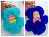 Doll Keychain van de Pluche van de Ketting van het Konijn van Rex van de Vorm van de Baby van de Slaap van de fabriek In het groot Mooi Zeer belangrijk