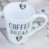 Caneca de café cerâmica barato branca fina do presente da caneca da porcelana