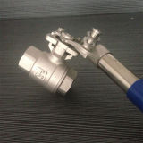 Válvula de bola 2PC de acero inoxidable con mango de Reset Automático
