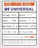 4 pulgadas de paletas de plástico de la bomba de agua solar 4qjz3.5/90-96/750 Power 1HP, jefe máximo de 90 metros, 7 de fase, etapa 8