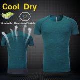 do esporte barato de Polyesrter dos homens da manufatura camisa respirável da aptidão T da ginástica