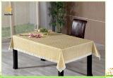 Pvc drukte In reliëf gemaakt en Gouden Tafelkleed met de Steun van het Flanel af (TJG007)