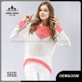 Коренастый Sequined hi-Lo свитер рубчика круглой ый крючком шеей сделанный по образцу розовый