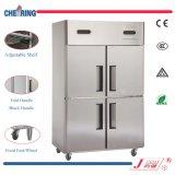 Acero inoxidable Rrefrigerator comercial/congelador/refrigerador de la temperatura doble de dos puertas