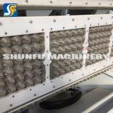 Plato de papel moldes formando pequeñas máquinas hacen que la bandeja de huevos con la línea seca