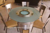 Tampo de mesa de café de vidro com padrão ácido etiquetado