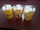 El chino para llevar las cajas de alimentos de papel con asa metálica (bañera-1001)