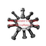 Classe 12.9 acier Segment de la voie de la charrue vis hexagonale et écrou pour excavatrice pièces du chargeur de nivelage