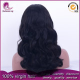 Negro natural Gran ondulado cabello virgen peruana frente encaje peluca