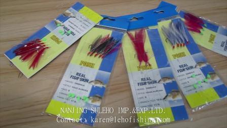 Sabiki Saltwater Fishing Lure Bait Rig Hook Tackle Luminous Beads Feathers ha