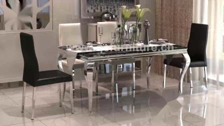 Modern Marble Dining Table With Silver, Silver Dining Room Ideas