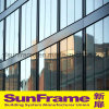Aluminium Glazing Curtain Wall System with Semi Exposed Frame