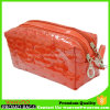 Red PU Rhomboids Embroider Cosmetic Bag with 2 Layers