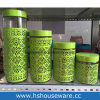 4PCS Difference Size Flower Design, Glass Jar Set with Metal Lid, Glass Canister Set