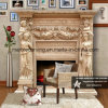 Double Fireplace Mantel in Yellow Marble Over Mantel Nsb056