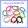 10 Colors V8 Strong Fabric Braided Micro USB Data Sync Charger Cable 3ft/6ft/10ft for Android Phones