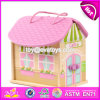 New Products Customized Pink Wooden Girls Dolls House W06A171