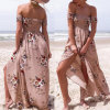 Fashion Women Chiffon Printed Wrapped Chest Strapless Split Beach Dress