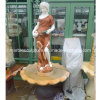 Lady Stand Sunred Stone Sculpture Marble Fountain (SY-F058)