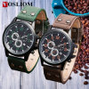Y≃ L-549 Fashion Stainless Steel Case Double Bu⪞ Kle Leather Belt Men Wrist Quartz Sport Wat⪞ H