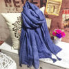 Lace Trim Plained Dyed Linen/Cotton Fashion Scarf with Tassels (H01)