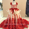 Red Champagne Lace Girls Ball Gown Flora Beads Flower Girl Dresses B1518