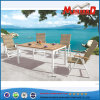 Foldable PE Rattan Chair with Teak Table for Patio