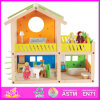 2014 New Kids Wooden Toy House, Popular Pretend Toy Wooden Children Toy House, Hot Sale Baby Wooden Doll Toy House Set Factory W06A053