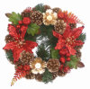 Plastic Holly Berry Foliage Christmas Candle Holder Ring Wreath