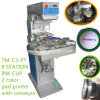 TM-C2-P Two Color Ink Cup Pad Printer Machine with Conveyor