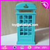 Wholesale Decorative Telephone Booth Shape Wooden Blue Piggy Bank for Kids Saving Money W02A276