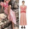 2019 Hot Sale Women Chiffon Digital Printing Deep V Neck Sexy Long Prom Dresses