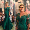 Green Celebrity Gowns Mother′s Dresses Short Sleeves Lace Evening Dress Z621