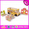 2015 Kids Indoor Games Wooden Train Platform Set, Cartoon Wooden Train Station Toy, Role Play Wooden Train Station Toy W04b020