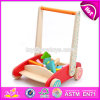 New Design Storage Cart Wooden Baby Push Along Walker with Blocks W16e073