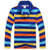 Men′s Striped Long Sleeve Polo Shirt