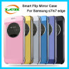 Electroplating Smart Mirror Flip Cover Mobile Phone Case for Samsung S7 Edge
