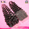 Deep Wave Brazilian Deep Curly Hair Lace Closure with Bundles Weave