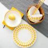 Pattern of Ceramic Tableware Leaves China Orange Steamed Rice Bowl