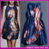 OEM Service Supply New Sexy Short Tight Satin Women Clothing Good Quality Ladies Fashion Printed Dress/Gowns (D300)