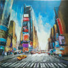 High Quality Lively Handmade Style Commercial Street Oil Painting (LH-119000)